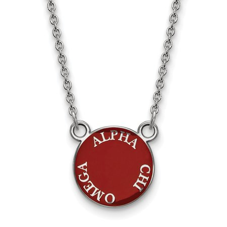 Sterling S. Rh-plated LogoArt Alpha Chi Omega Small Enl Pend w/Necklace in Sterling Silver Alpha Omega Jewelry