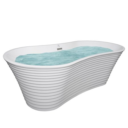 67 Inch White Acrylic Bathtub – Modern Flat Bottom Stand Alone Bathtub – Luxurious SPA Soaking