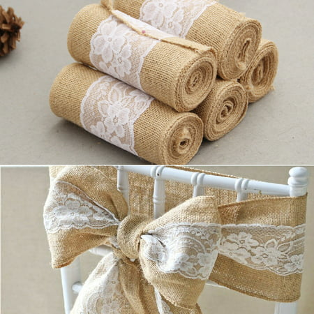 15*240 CM Vintage Jute Burlaps with White Lace Roll Craft Ribbon for Wedding Decoration in Table Runner Chair Sashes - Table Runner Roll