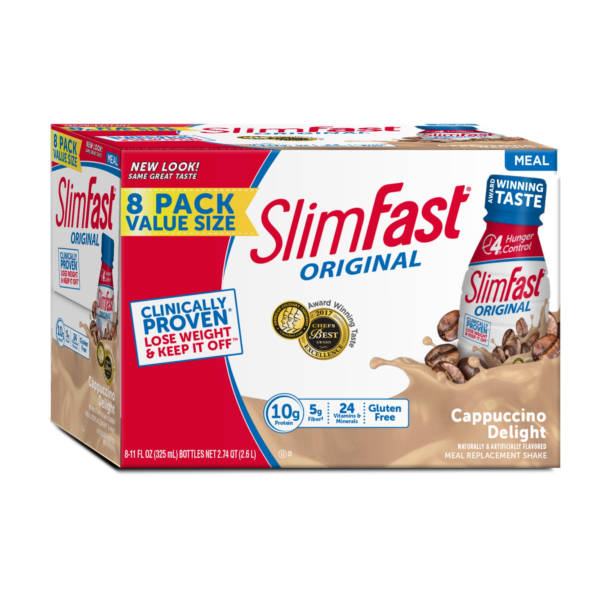 SlimFast Original Ready to Drink Meal Replacement Shakes, Cappuccino Delight, 11 fl. oz., Pack of 8