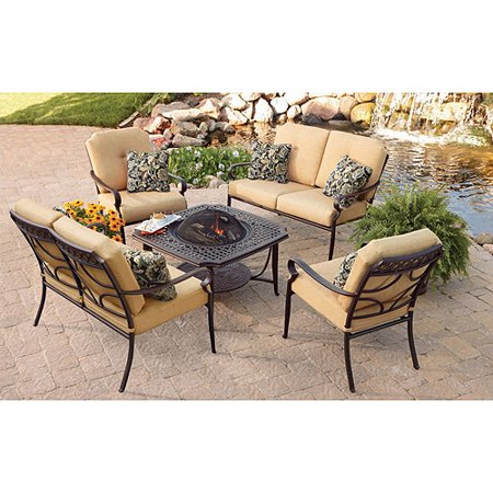 Better Homes and Gardens Paxton Place 5 Piece Aluminum Patio Conversation  Set with Fire Pit. Better Homes and Gardens Paxton Place 5 Piece Aluminum Patio