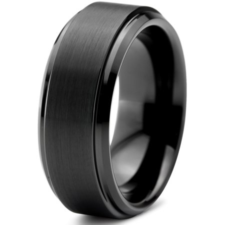 Charming Jewelers Tungsten Wedding Band Ring 8mm for Men Women Comfort Fit Black Beveled Edge Polished Brushed Lifetime Guarantee