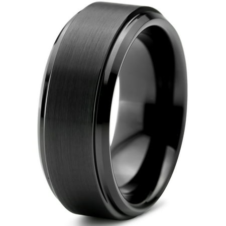 Charming Jewelers Tungsten Wedding Band Ring 8mm for Men Women Comfort Fit Black Beveled Edge Polished Brushed Lifetime