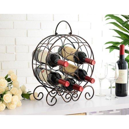 K&B Furniture Copper Metal Table Wine Rack ()