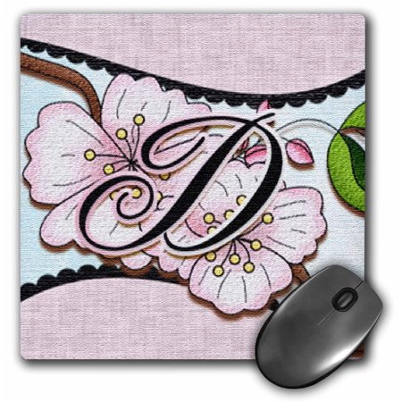 (3dRose Cherry Blossom Flower Monogram Initial D, Mouse Pad, 8 by 8 inches)