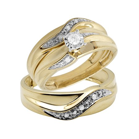 10K Yellow Gold Real Diamond Solitaire Trio Wedding Ring Set 0.25ct ()