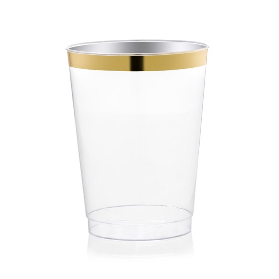 Drinket Gold Plastic Cups 10 Oz Clear Tumblers Fancy Wedding With