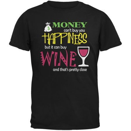 Money Happiness Wine Funny Black Adult T-Shirt - X-Large Happiness Adult T-shirt