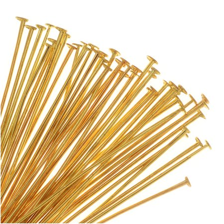 Head Pins, 1.5 Inches Long and 23 Gauge Thick, 50 Pieces, Soft Gold Plated Brass ()