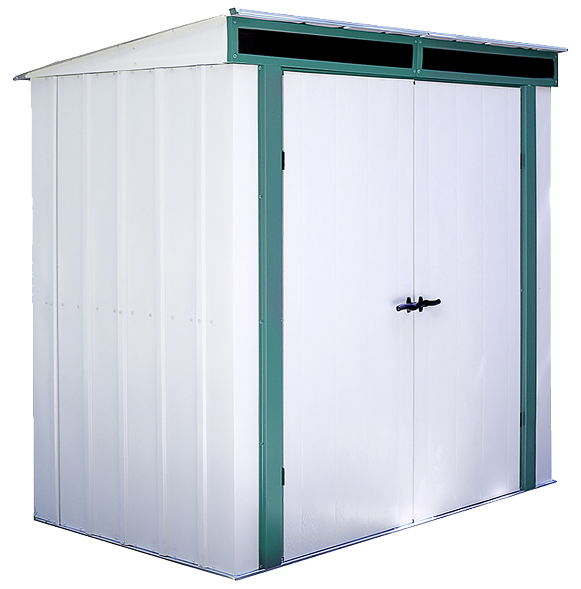 Euro-Lite 6 x 4 ft. Steel Storage Shed Pent Roof Green/Eggshell
