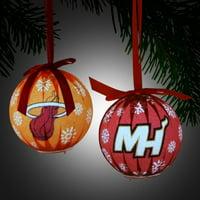 Miami Heat 6 Piece LED Boxed Ornament Set - No Size