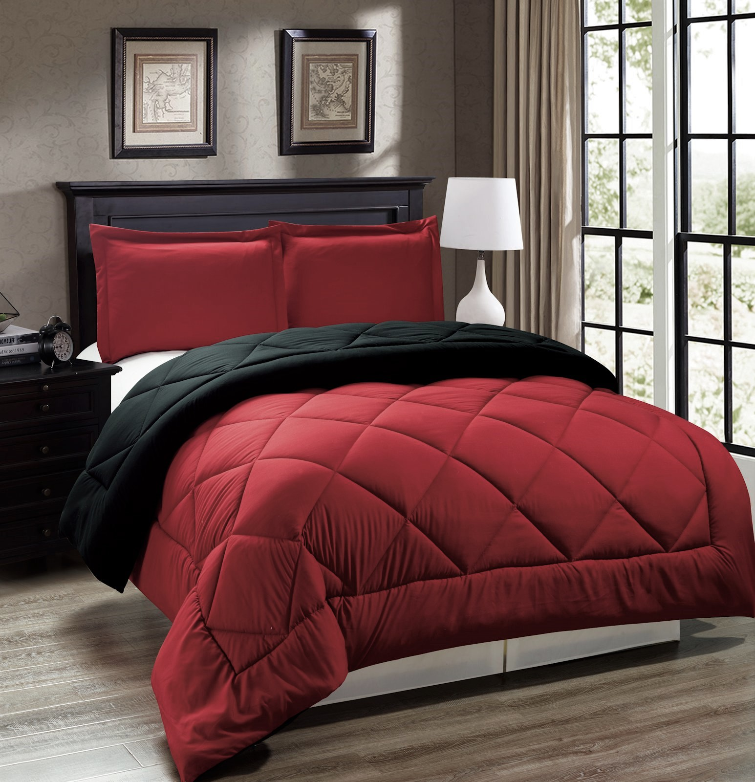 Legacy Decor 2pc Down Alternative, Reversible Comforter Set Red and Black, Twin Size
