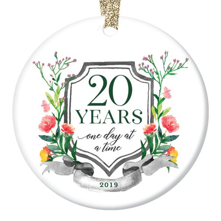 2019 Holiday Sobriety Ornament One Day at a Time Celebrates 20 Year Milestone Ceramic Twentieth Anniversary Man Woman Recovery Porcelain Keepsake 3