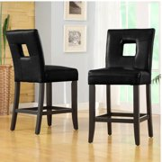 Top Line Landen Faux Leather Counter-Height Chair, Set of 2, Black