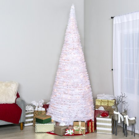 Best Choice Products 7.5ft Pre-Lit Pull-Up Pop-Up Artificial Christmas Tree Holiday Decoration with 450 Warm White Lights, Metal Stand, Minimal Assembly,