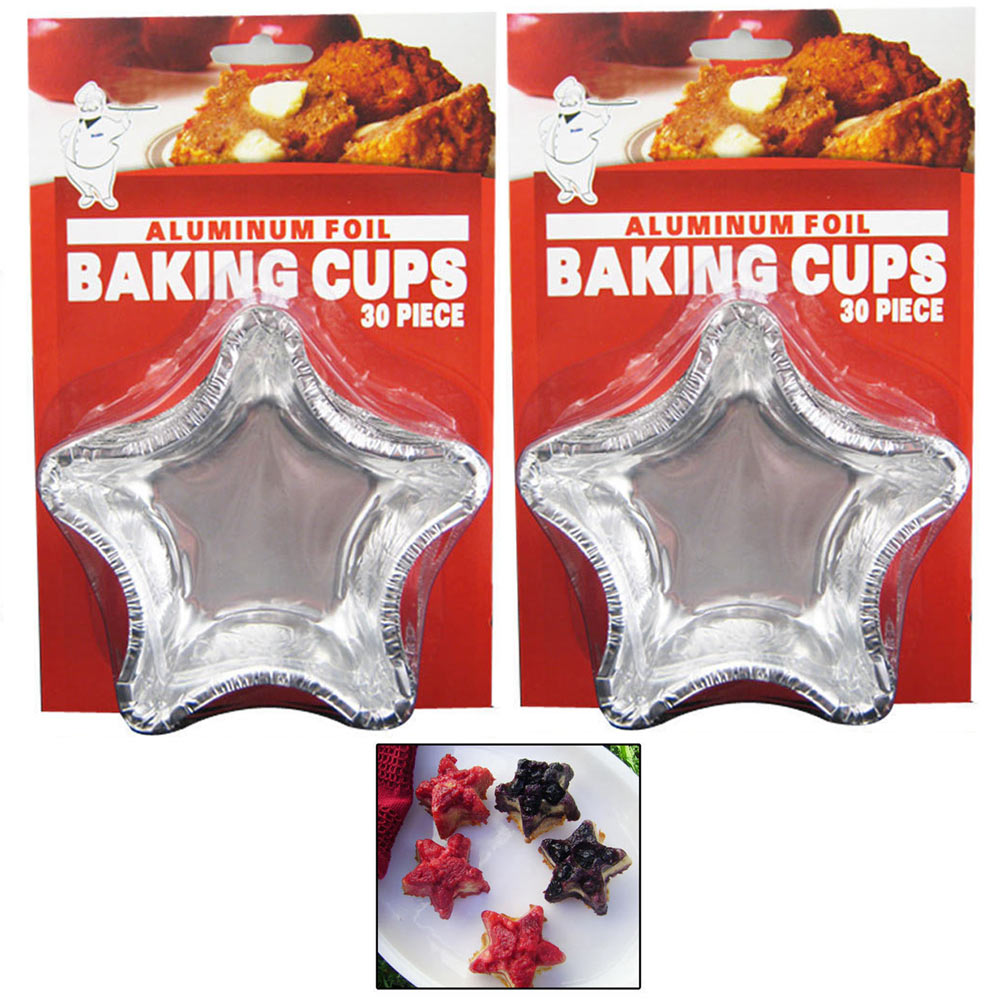 48 Silver Foil Baking Cups Star Shapes Mold Cupcakes Run Bake Mini Cakes Crafts