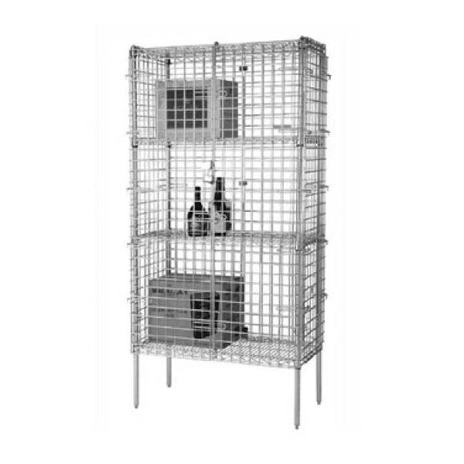 FocusFoodService FSSEC2436 24 inch W x 36 inch L x 63 inch H Stationary Security Cage - Chrome