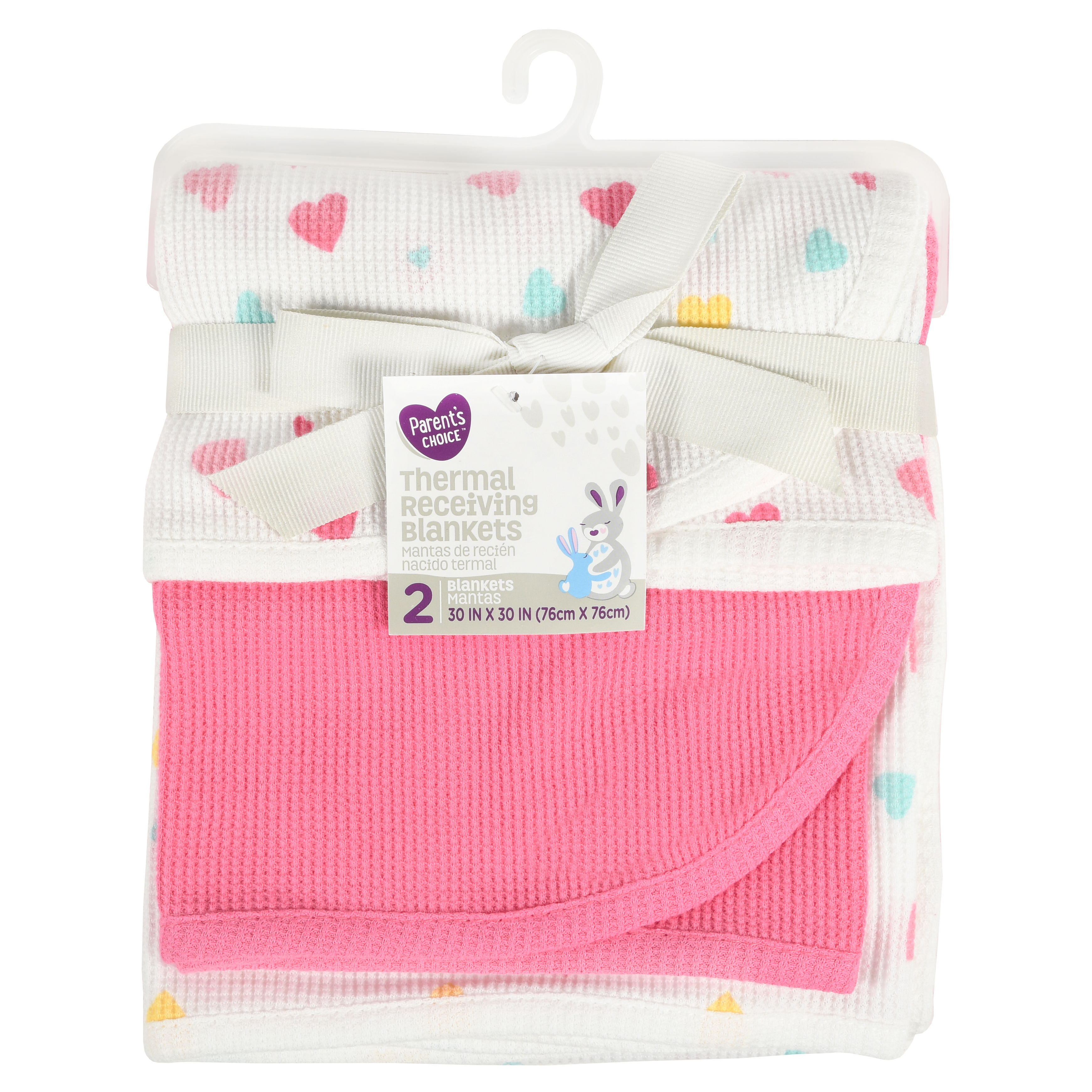 Parent's Choice Thermal Receiving Blankets, Hearts, 2 Piece