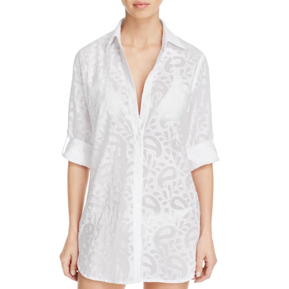 Tommy Bahama Womens Textured Swim Cover-up Button-Down Top