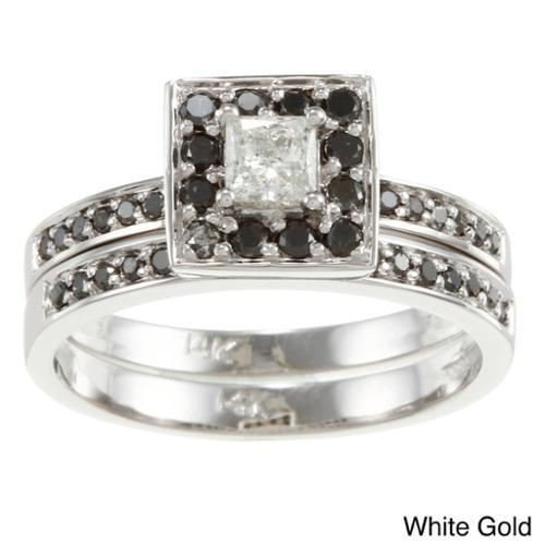 Auriya 14k Gold 1/2ct TDW Princess Black and White Diamond Bridal Ring Set (H-I, I1) White - Size 4.5