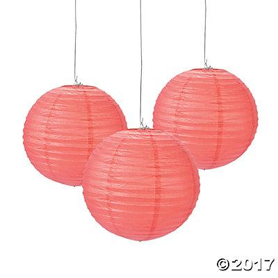 Coral Hanging Paper Lanterns