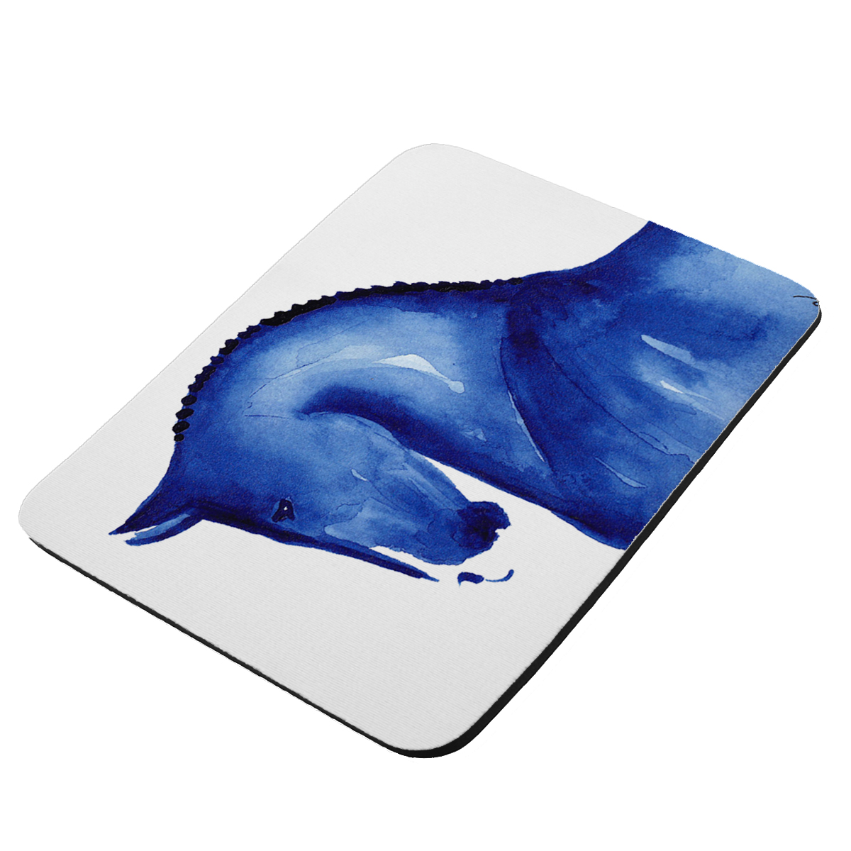Warmblood Sports Horse in Blue Abstract Horse Art by Denise Every - KuzmarK Mousepad / Hot Pad / Trivet
