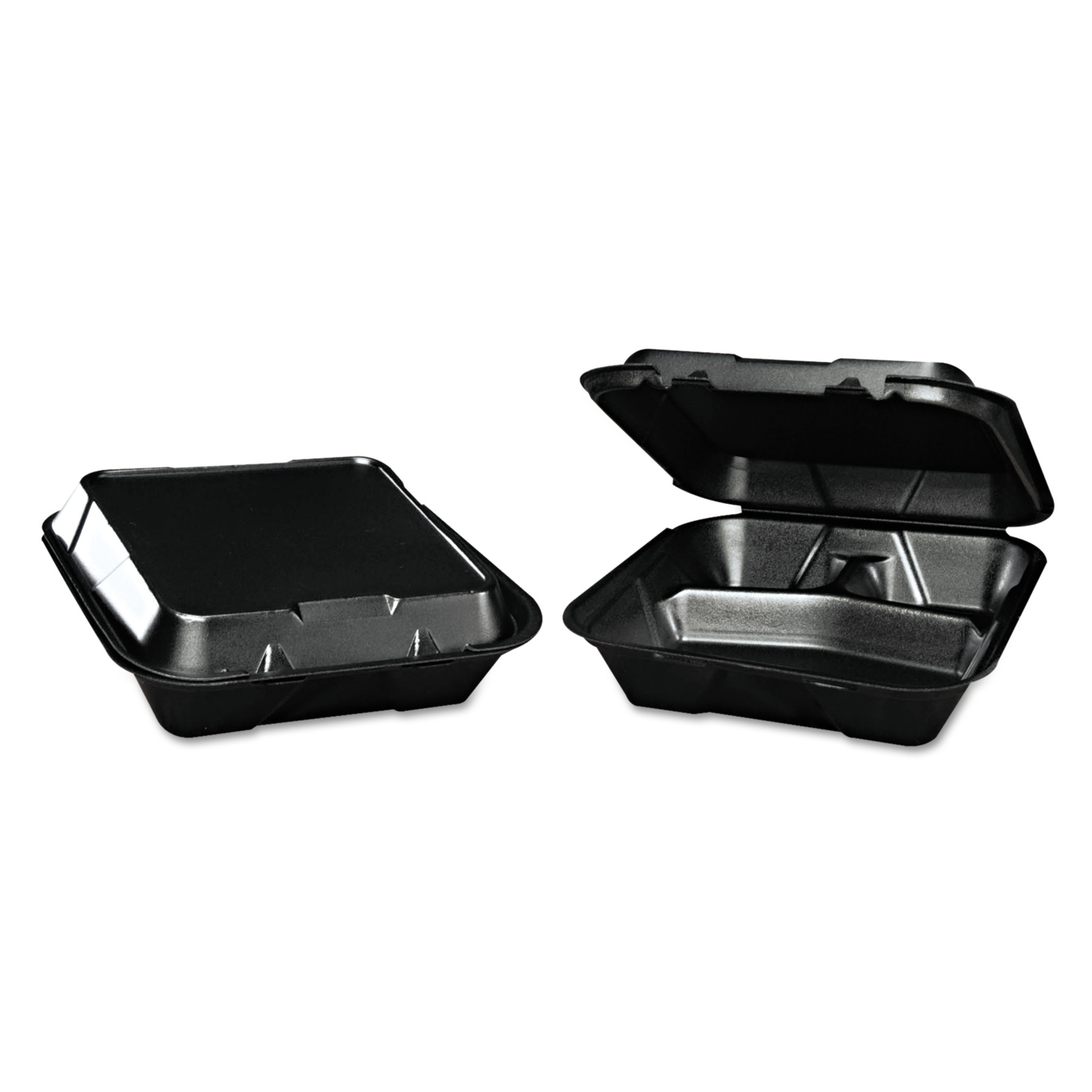 Genpak Snap-It 3-Compartment Foam Hinged Containers, Black, 200 count