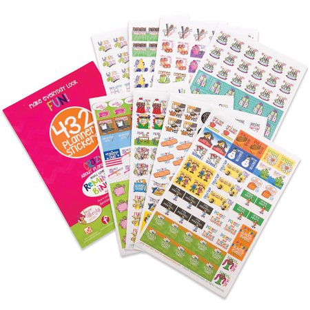 Best Planner Variety Stickers Set (Qty 432) for Busy Moms for Birthdays, Home, Work, Appointments, School Events, Projects, Party, Play Dates, Sports, Family, Water & Fitness Tracking for Any Planner