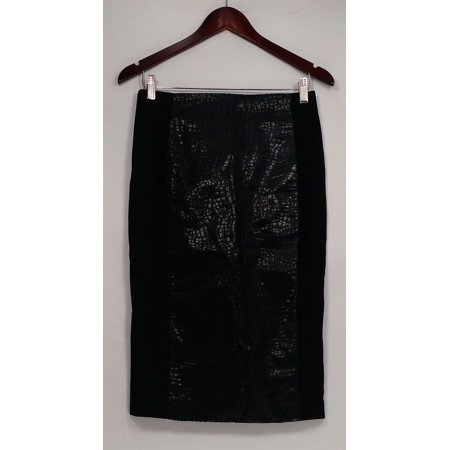 G.I.L.I. got it love it Skirt Sz 4 Printed Faux Leather Pencil Black A280971 With Love Print Skirt