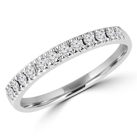 Majesty Diamonds MDR160015-6 0.2 CTW Round Diamond Semi-Eternity Wedding Band Ring in 14K White Gold - 6 - image 1 de 1