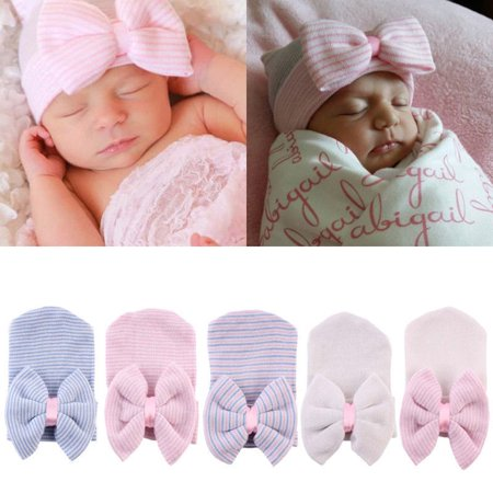 The Noble Collection Cute Baby Girls Infant Striped Cap Hospital Newborn Soft Bow Beanie Hat ()
