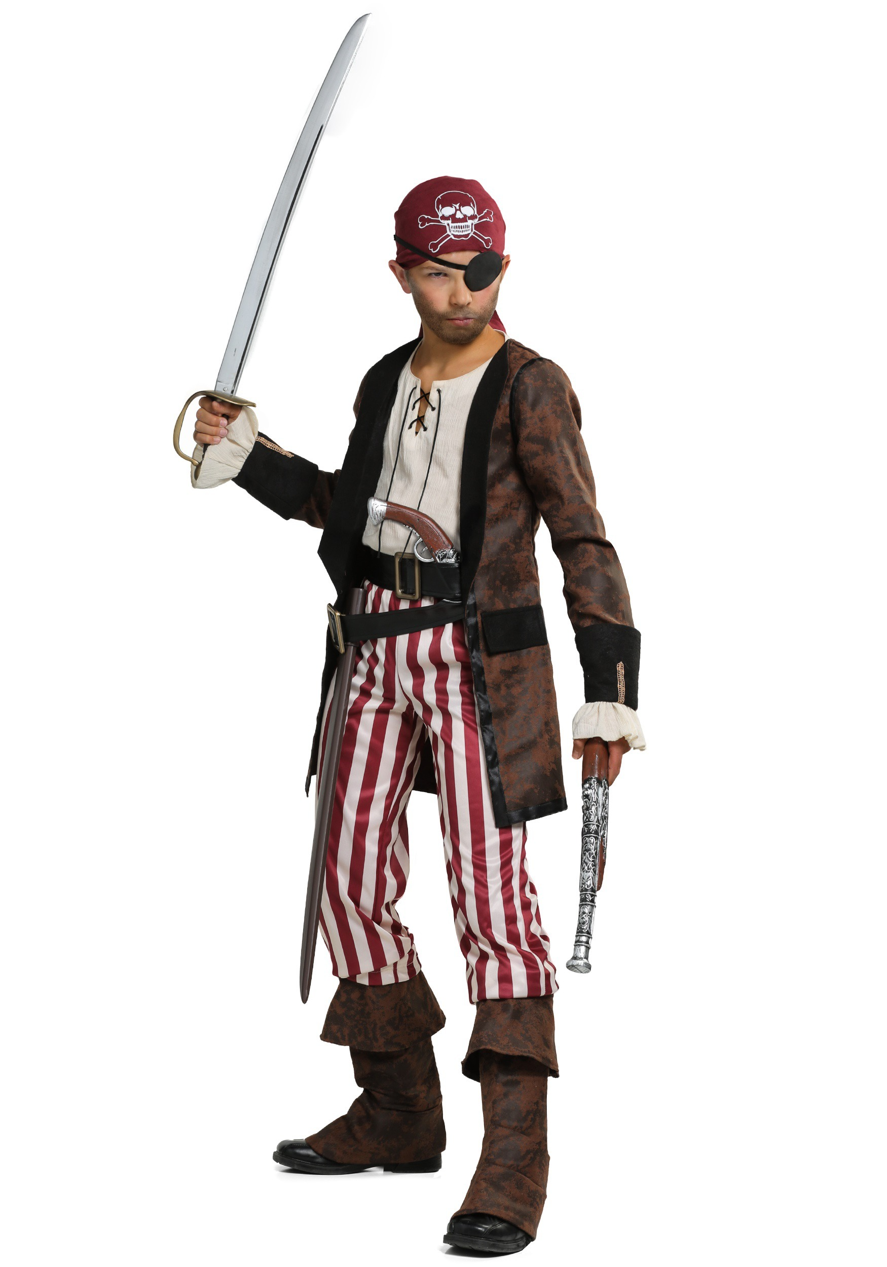 Brown Coat Pirate Boys Costume by