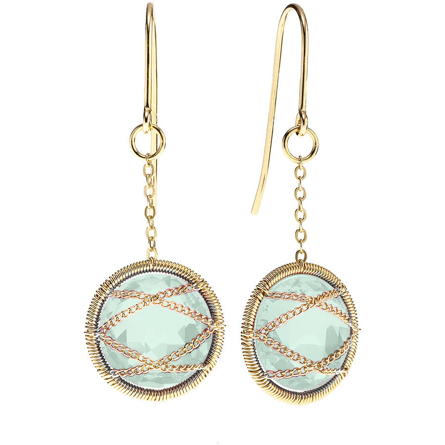 Image of 5th & Main 18kt Gold over Sterling Silver Hand-Wrapped Round Chalcedony Stone Earrings