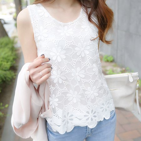 Lavaport Casual Women Sleeveless Slim Lace Shirts Vest Blouse ()