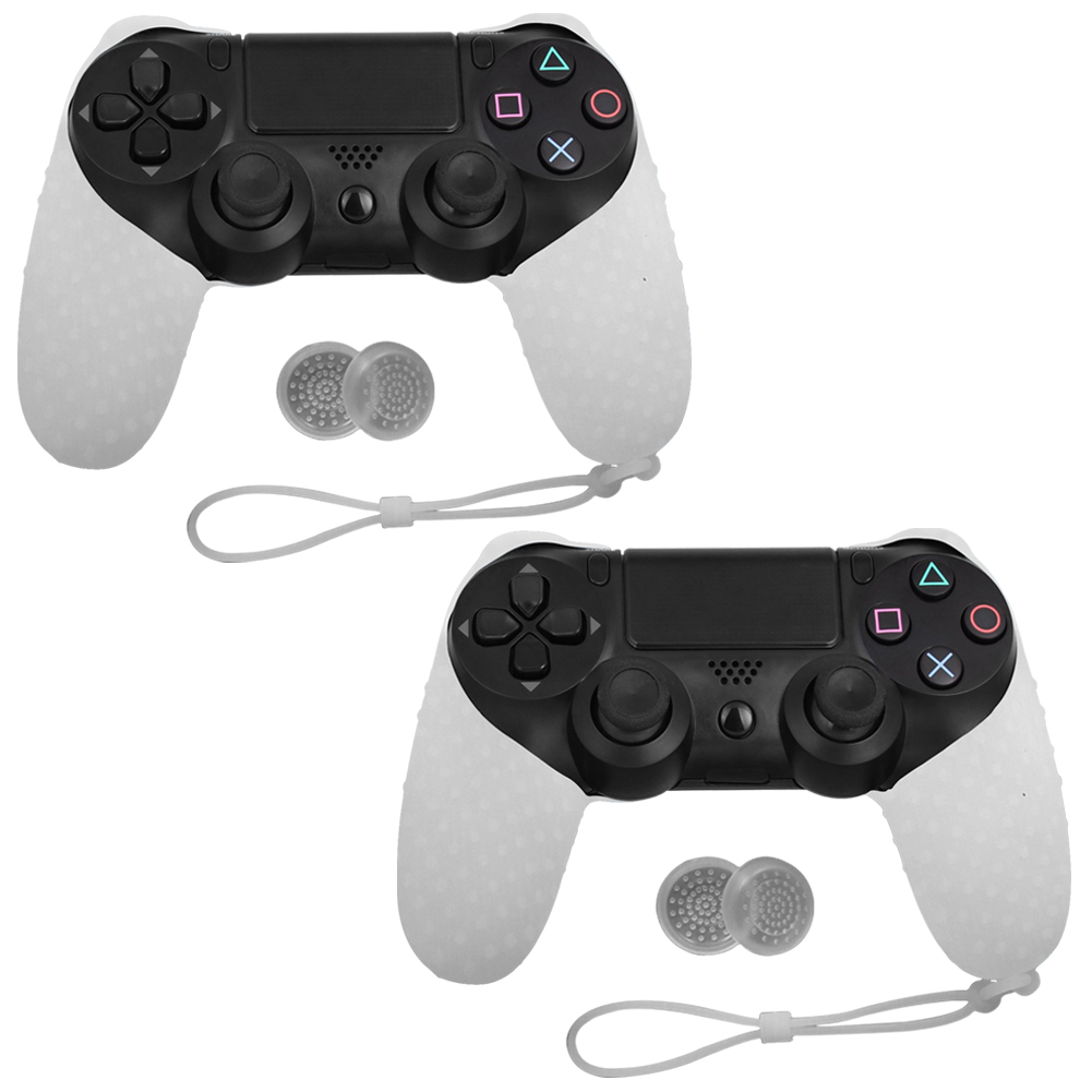 2 PACK Silicone Gel Case Rubber Soft Skin Cover For Sony Play Station 4 PS4 Game Controller WHITE