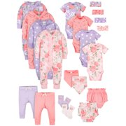 Modern Moments by Gerber Baby Girl Newborn Organic Shower Gift Set, 20-Piece