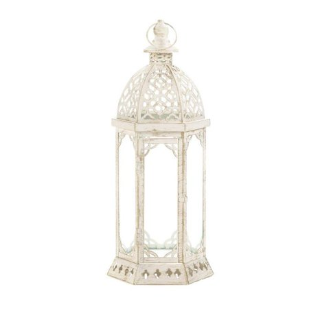 Glass Candle Lantern, Graceful Distressed Small Hanging Metal Candle Lantern](White Metal Lanterns)