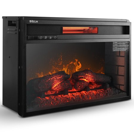 Della 26'' Electric Fireplace Insert Heater with Log Hearth Flame and Remote,1500W Black