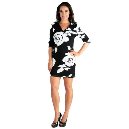 24seven Comfort Apparel Classy Black and White Rose Print Collared Mini Dress - Clothes And Dresses