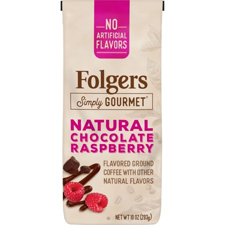 Folgers Simply Gourmet Natural Chocolate Raspberry Flavored Ground Coffee, With Other Natural Flavors, 10-Ounce Bag