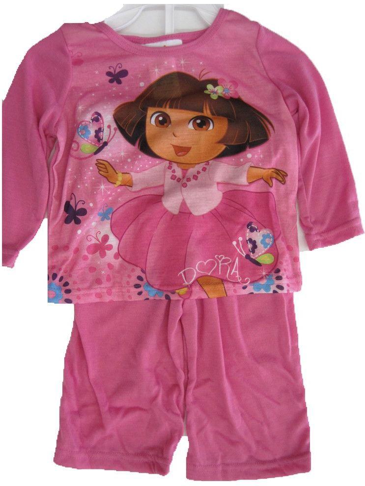 Baby Girls Sky Blue Dora The Explorer Print 2 Pc Pajama Set 12-24M