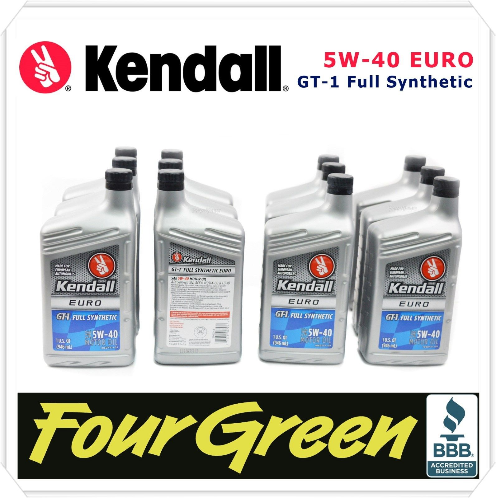 Kendall Engine Motor Oil 5w40 GT1 Fully Synthetic Euro Liquid Titanium12 qrts