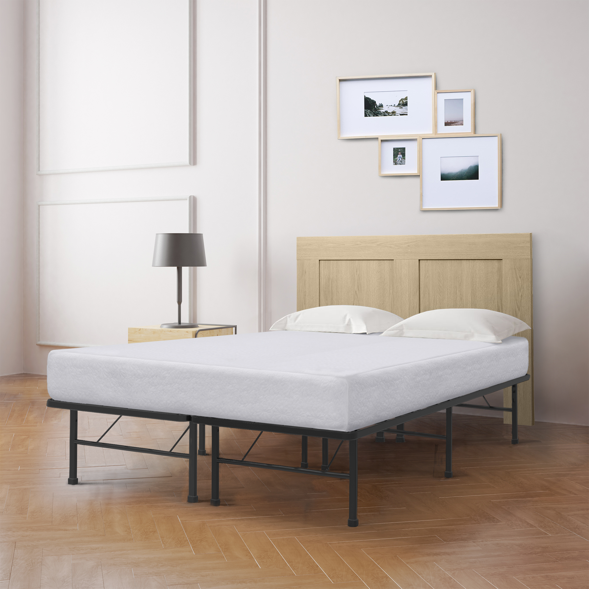 Best Price Mattress 8 Inch Memory Foam Mattress and Innovated Platform Metal Bed Frame Set