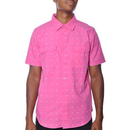 Woven Pocket Button-Up SS Shirt Pink Mens