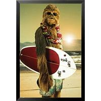 buyartforless Star Wars Chewbacca With Surfboard Framed Wall Art