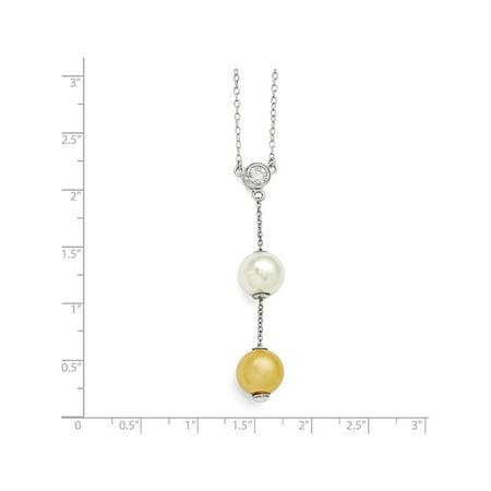 Argent 925 Majestik Blanc & Shell Perle & CZ Collier - image 1 de 3