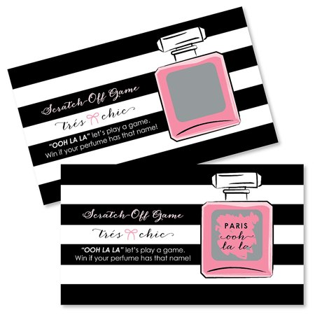 Paris, Ooh La La - Paris Themed Baby Shower or Birthday Party Game Scratch Off Cards - 22 Count
