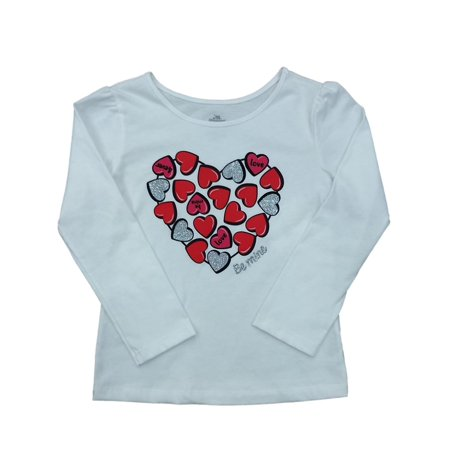 Toddler Girls Long White Be Mine Valentines Day T-Shirt Candy Heart Shirt ()