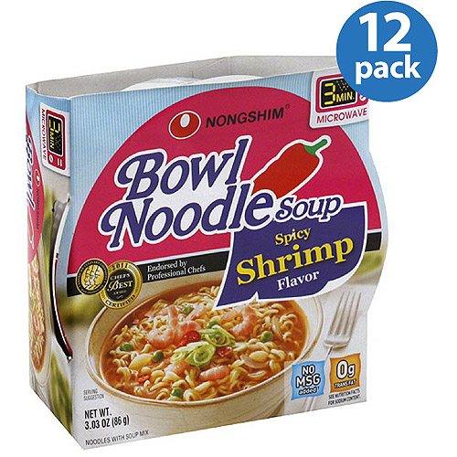 Nongshim Spicy Shrimp Flavor Noodle Soup Bowl, 3.03 oz (Pack of 12)