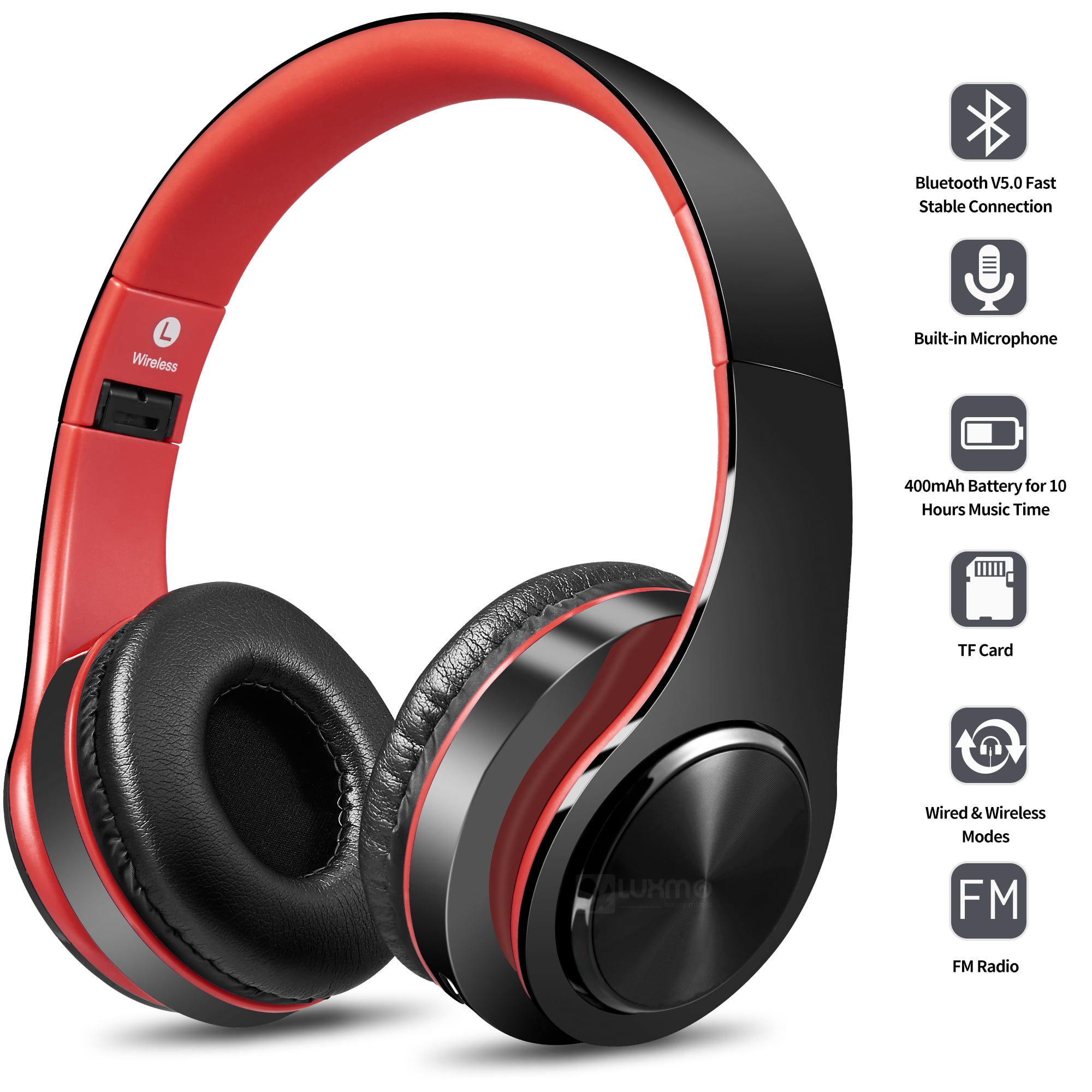 Bluetooth Headphones Over Ear Luxmo Wireless Noise Cancelling Headphones Foldable Stereo Headset With Mic Rechargeable Headphones Handsfree Headphones For Pc Laptops And Smartphones Walmart Com Walmart Com